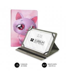 Funda universal subblim trendy cat para tablet hasta 10.1'/25.6cm - rotación 360º - exterior símil piel - interior