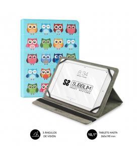 Funda universal subblim trendy owls para tablet hasta 10.1'/25.6cm - rotación 360º - exterior símil piel - interior