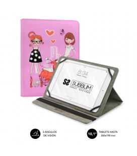 Funda universal subblim trendy fashion girls para tablet hasta 10.1'/25.6cm - rotación 360º - exterior símil piel - interior