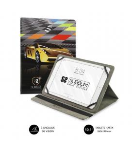 Funda universal subblim trendy súper car para tablet hasta 10.1'/25.6cm - rotación 360º - exterior símil piel - interior