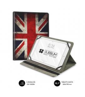 Funda universal subblim trendy england para tablet hasta 10.1'/25.6cm - rotación 360º - exterior símil piel - interior