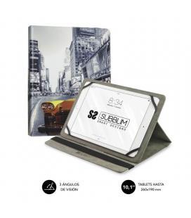 Funda universal subblim trendy ny taxi para tablet hasta 10.1'/25.6cm - rotación 360º - exterior símil piel - interior