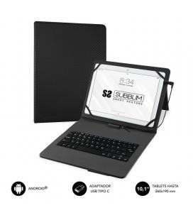 Funda con teclado subblim keytab pro usb black - para tablet de 10.1'/25.65cm - microusb con adaptador tipo-c - cierre solapa