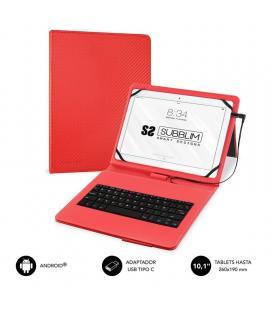 Funda con teclado subblim keytab pro usb red - para tablet de 10.1'/25.65cm - microusb con adaptador tipo-c - cierre solapa