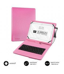 Funda con teclado subblim keytab pro usb pink - para tablet de 10.1'/25.65cm - microusb con adaptador tipo-c - cierre solapa