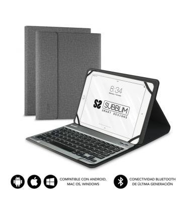 Funda con teclado subblim keytab pro bluetooth grey - para tablet de 10.1'/25.65cm - batería 420mah -compatible - Imagen 1