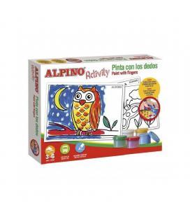 Pack pinturas alpino pinto con los dedos - 5*botes pinturas dedos - 6*láminas para colorear - 1*guía de uso