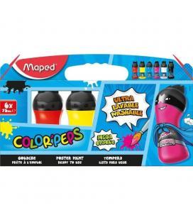 Set 6 temperas maped color'peps 810010 - textura untuosa - lavable en máquina - formato botellas 75ml - colores primarios