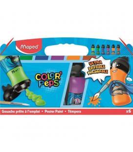 Set 6 temperas maped color'peps 810011 - textura untuosa - lavable en máquina - formato botellas 75ml - colores secundarios