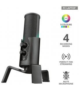 Micrófono trust gaming gxt 258 fyru usb 4-in-1 streaming - 4 patrones de grabación - puerto monitorizacion - iluminación led -