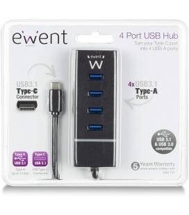 Ewent E1137 HUB USB TIPO C 4 PUEROS USB 3.1