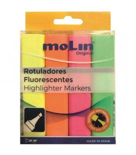 Paquete 4 marcadores fluorescentes molin rtf240-04b - sistema antisecado - colores surtidos - Imagen 1