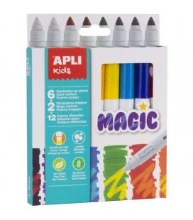 Pack 8 rotuladores magic apli kids 16808 - punta redonda ø7.5mm - cuerpo cilíndrico - lavables - tinta larga duración - colores