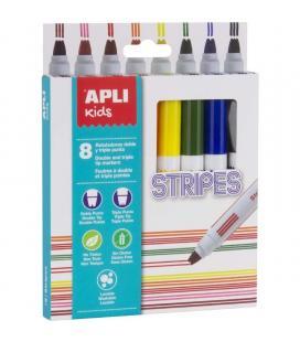 Pack 8 rotuladores stripes apli kids 16809 - punta redonda ø7.5mm - lavables - tinta larga duración - colores surtidos - Imagen