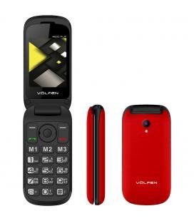 Telefono movil volfen flip rojo - tipo concha - 3 memorias directas - pantalla 2.4 - dual sim - micro sd - camara - bateria la
