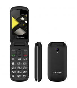 Telefono movil volfen flip negro - tipo concha - 3 memorias directas - pantalla 2.4 - dual sim - micro sd - camara - bateria