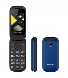 Telefono movil volfen flip azul - tipo concha - 3 memorias directas - pantalla 2.4 - dual sim - micro sd - camara - bateria lar