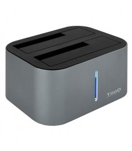 Tooq TQDS-805G Dock Station Doble Bahía HDD Gris - Imagen 1