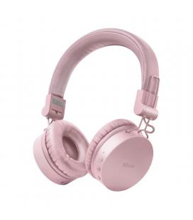 Auriculares bluetooth trust tones pink - drivers 40mm - batería recargable - jack 3.5 para uso con cable - diseño plegable -