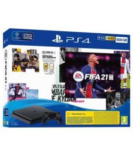CONSOLA SONY PLAYSTATION 4 SLIM 500GB + FIFA 21 + CÓDIGO CONTENIDO DESCARGABLE FUT 21 + CÓDIGO PRUEBA 14 DÍAS PS PLUS