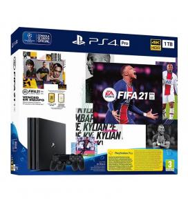 CONSOLA SONY PLAYSTATION 4 PRO 1TB + FIFA 21 + DESCARGABLE + CÓDIGO 14 DÍAS PS PLUS + MANDO DUALSHOCK V2