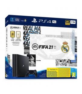 CONSOLA SONY PLAYSTATION 4 PRO 1TB EDICION REAL MADRID + FIFA 21 + CÓDIGO CONTENIDO DESCARGABLE FUT 21 + CÓDIGO PRUEBA