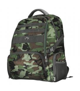 Mochila trust gaming gtx 1250g hunter gaming backpack para portátiles hasta 17.3'/ antirobo/ impermeable/ verde camuflaje