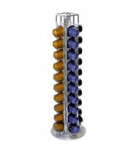 Porta cápsulas jocca 1646 - capacidad 40 cápsulas - acabado acromado - exterior color plata