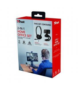 Pack 2 en 1 trust doba home office set webcam + auriculares con micrófono