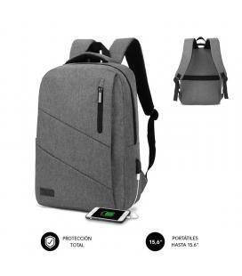 Mochila subblim city backpack para portátiles hasta 15.6'/ puerto usb/ gris
