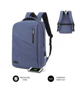 Mochila subblim city backpack para portátiles hasta 15.6'/ puerto usb/ azul