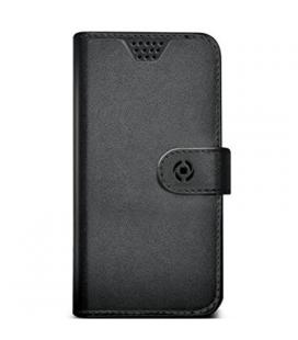 Funda Celly universal XL tipo libro negra y marrón