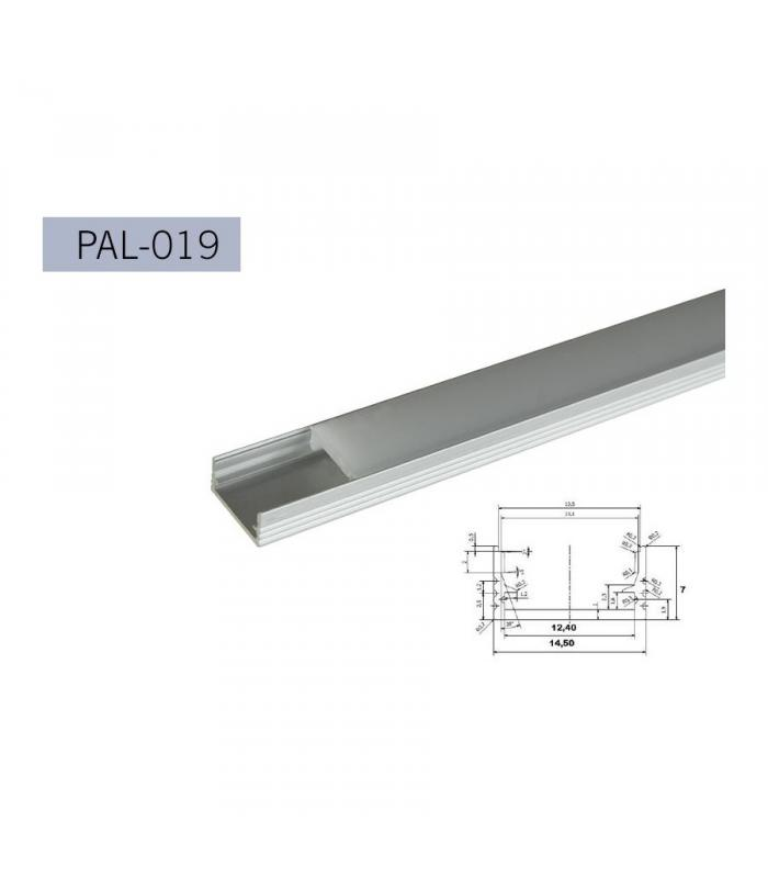 Perfil aluminio canal tipo u 7mm 2m tapa semi - Perfil aluminio u ...