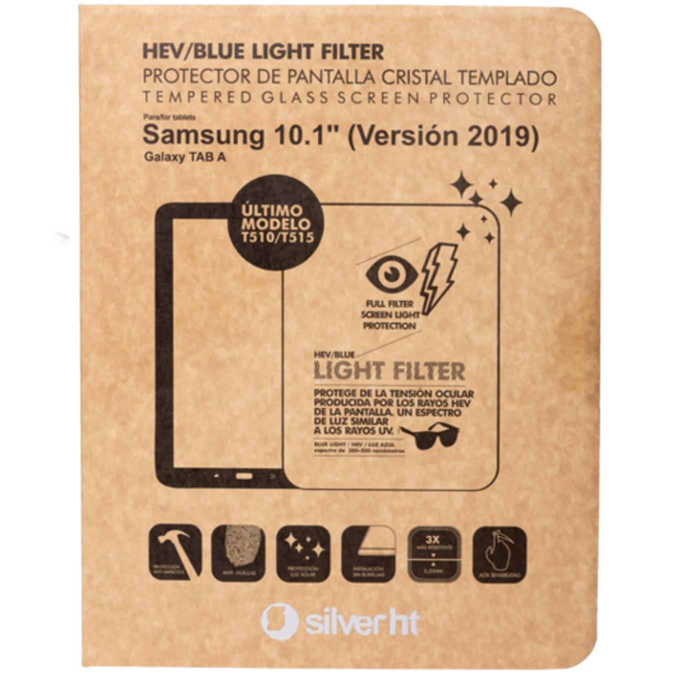 Protector de pantalla silver ht para samsung tab a 2019 10.1pulgadas (t510 - t515) cristal templado blue light